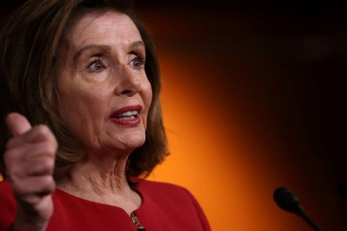 FILE PHOTO: U.S. House Speaker Pelosi holds her weekly news conference at the U.S. Capitol in Washington