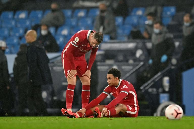 Manchester City boss Pep Guardiola said an injury to Liverpool's Trent Alexander-Arnold (right) shows why five substitutions are needed in the Premier League