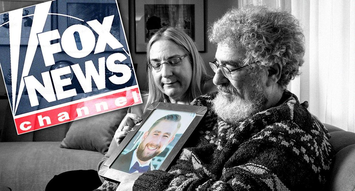 Mary Rich and her husband, Joel, hold a photo of their late son Seth in their home in Omaha, Neb. (Photo illustration: Yahoo News; photo: Matt Miller for the Washington Post via Getty Images)