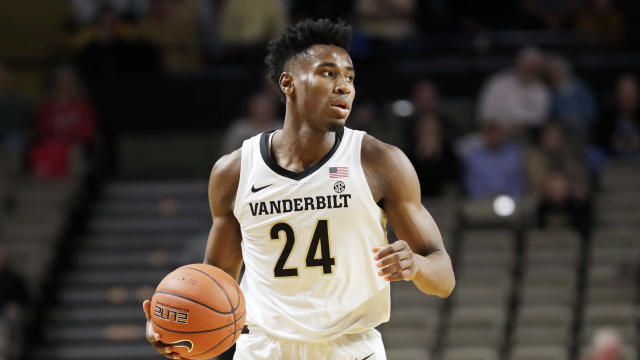 Vanderbilt star Aaron Nesmith is likely done for the year with a foot injury. (AP/Mark Humphrey)