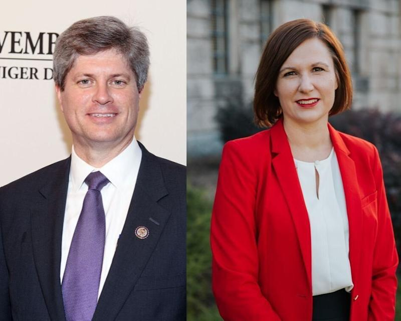 "Rep. Jeff Fortenberry (R-Neb.) ""has done nothing to help Nebraska farmers hurt by the trade war,"" state Sen. Kate Bolz said. She hopes to oust him in the 2020 election. (Photo: Getty Images; KATE BOLZ)"