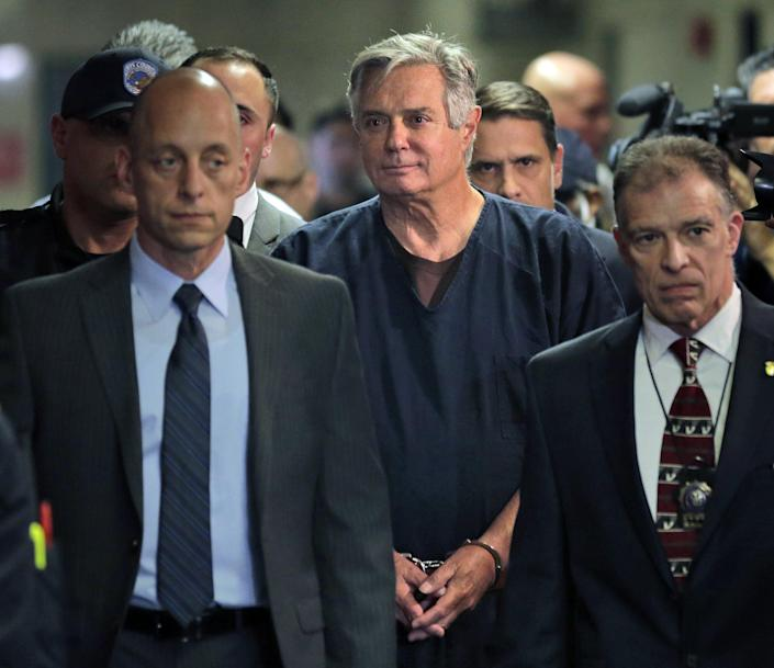FILE - In this June 27, 2019 file photo, Paul Manafort arrives in court in New York. Manafort has been released from federal prison to serve the rest of his sentence in home confinement over concerns about the coronavirus, his lawyer said Wednesday.