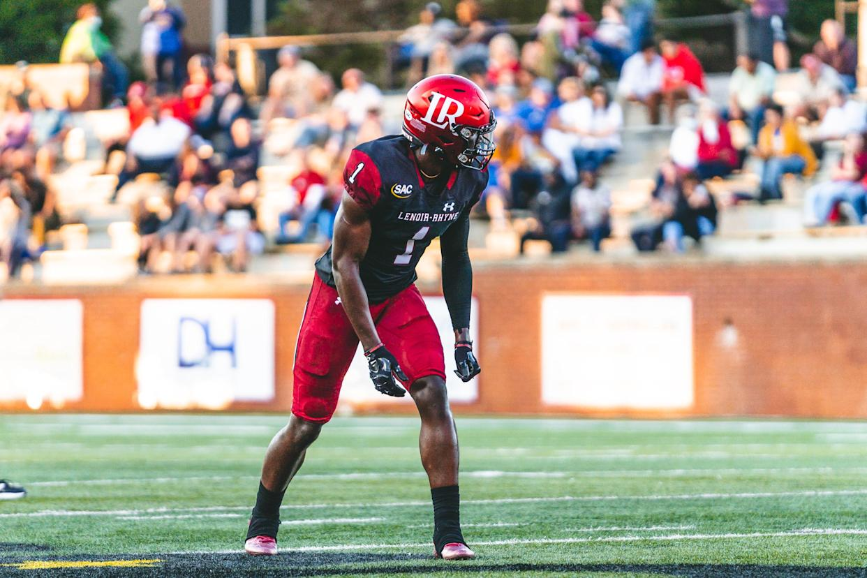 Lenoir-Rhyne's Dareke Young is very much on NFL scouts' radars, despite coming from a D-II program. (Courtesy of Lenoir-Rhyne)