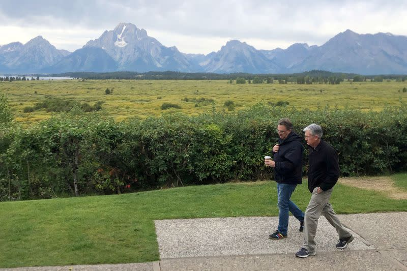 Federal Reserve Chair Jerome Powell and New York Federal Reserve President John Williams walk together in Jackson Hole