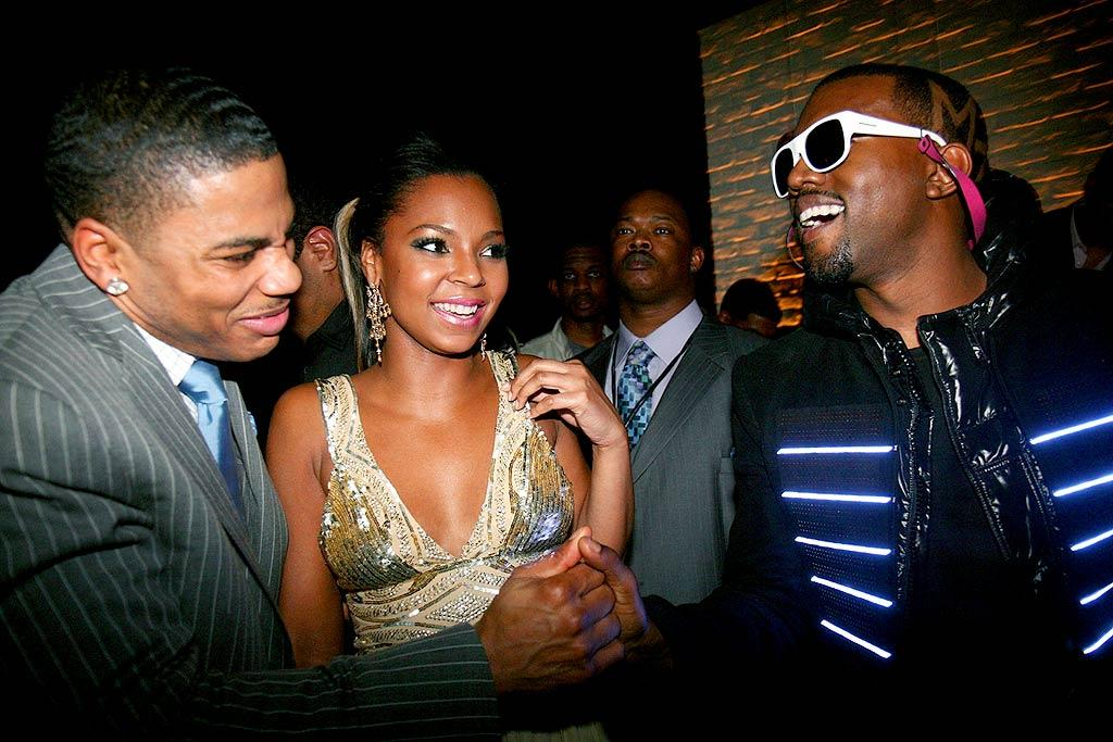 "Kanye West looked very ""Hollywood"" in his sunglasses as he greeted Nelly and Ashanti at the EW shindig. Johnny Nunez/<a href=""http://www.wireimage.com"" target=""new"">WireImage.com</a> - February 10, 2008"