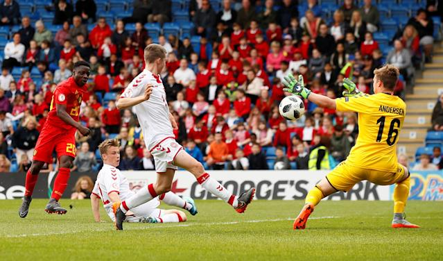 Soccer Football - UEFA European Under-17 Championship - Group C - Belgium v Denmark - Proact Stadium, Chesterfield, Britain - May 11, 2018 Belgium's Jeremy Doku scores his sides first goal Action Images via Reuters/Jason Cairnduff