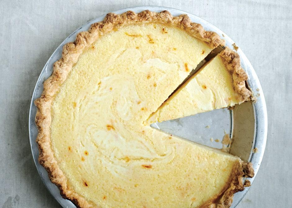 """Blind-baking the crust is essential: It keeps it from getting soggy when the custardy filling is added. <a href=""""https://www.bonappetit.com/recipe/lemon-buttermilk-pie-saffron?mbid=synd_yahoo_rss"""" rel=""""nofollow noopener"""" target=""""_blank"""" data-ylk=""""slk:See recipe."""" class=""""link rapid-noclick-resp"""">See recipe.</a>"""