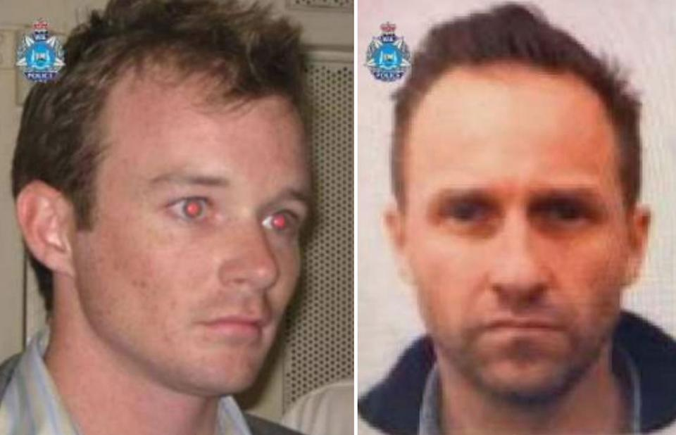 Hayden Burbank, right, and Mark Babbage allegedly falsified documents to get into Western Australia. Source: WA Police