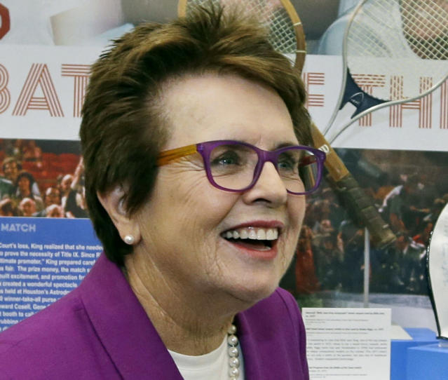 FILE - In this Sept. 5, 2013, file photo, Billie Jean King speaks in front of a display at the U.S. Open tennis tournament in New York. King believes Wimbledon finalists Petra Kvitova and Eugenie Bouchard are creating one of the most exciting times in women's tennis in decades. King ought to know. She helped start the Women's Tennis Association more than 40 years ago. (AP Photo/Darron Cummings, File)