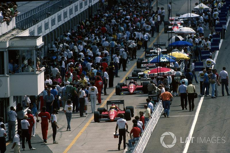 "The Ferraris of Alboreto and Stefan Johansson head down pitlane at Hockenheim in '86. As usual that year, they had a dreadful race.<span class=""copyright"">Sutton Images</span>"