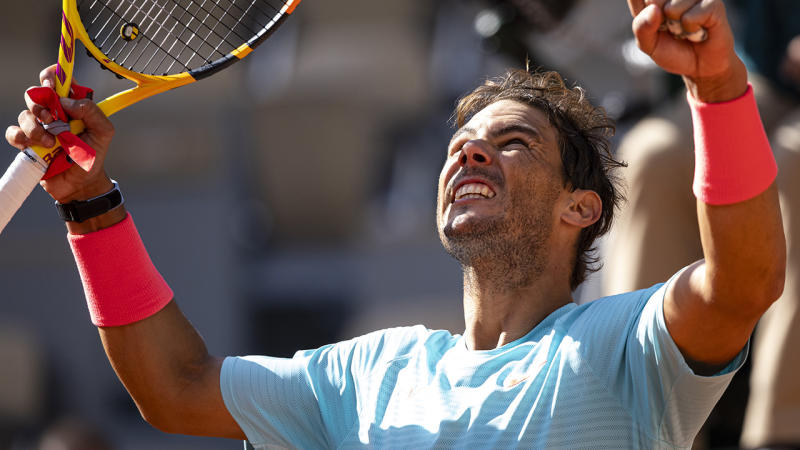 Rafael Nadal, pictured here celebrating his victory over Sebastian Korda at the French Open.