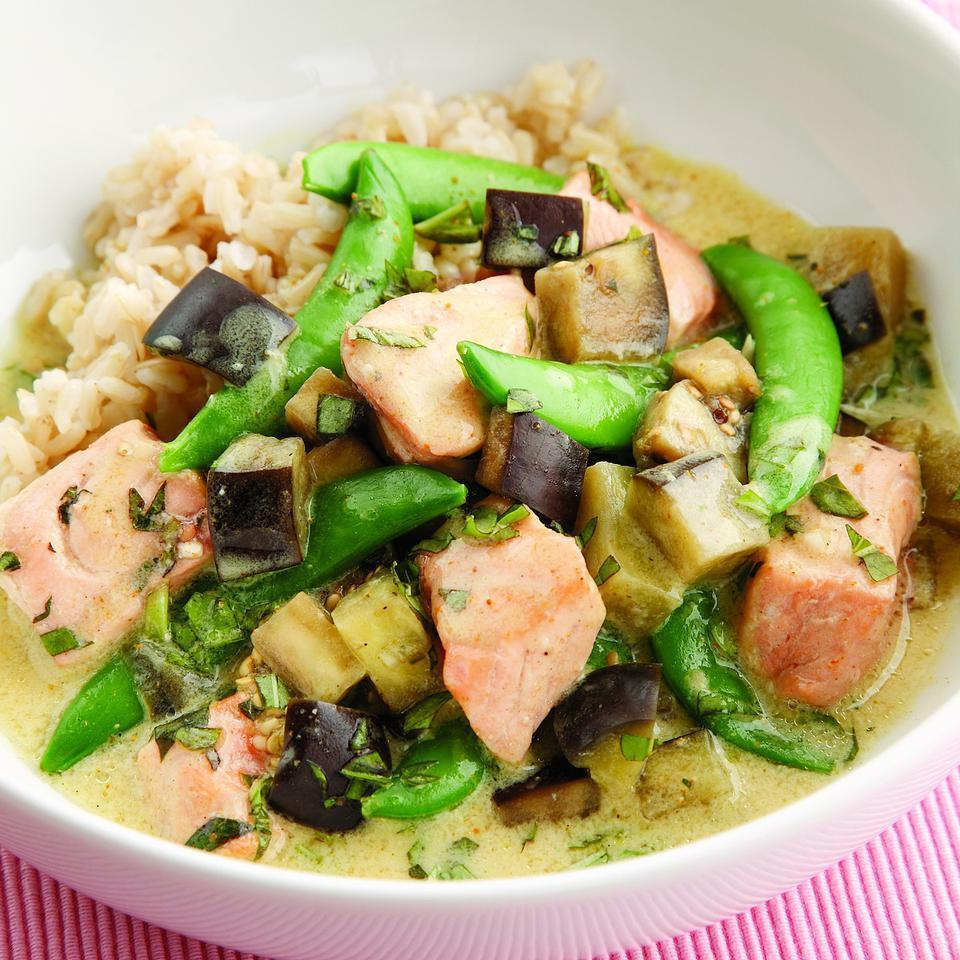"<p>Salmon and eggplant team up in this one-skillet curry flavored with coconut milk, basil and lime. We love the flavor of Thai yellow curry paste in this dish, but any type of curry paste can be used--be sure to taste as you go because curry blends vary in flavor and heat. If you don't have curry paste, curry powder works well here. Serve with fragrant brown rice, such as basmati or jasmine. <a href=""http://www.eatingwell.com/recipe/252452/salmon-eggplant-curry/"" rel=""nofollow noopener"" target=""_blank"" data-ylk=""slk:View recipe"" class=""link rapid-noclick-resp""> View recipe </a></p>"