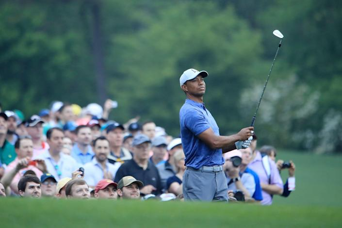 AUGUSTA, GEORGIA - APRIL 08:  Tiger Woods of the United States plays his shot from the 12th tee during a practice round prior to The Masters at Augusta National Golf Club on April 08, 2019 in Augusta, Georgia. (Photo by Andrew Redington/Getty Images)
