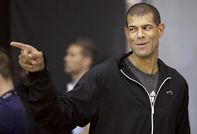 Miami Heat forward Shane Battier arrives at a media availability for the NBA basketball finals on Saturday, June 14, 2014, in San Antonio. Miami plays Game 5 against the San Antonio Spurs on Sunday. (AP Photo/David J. Phillip)