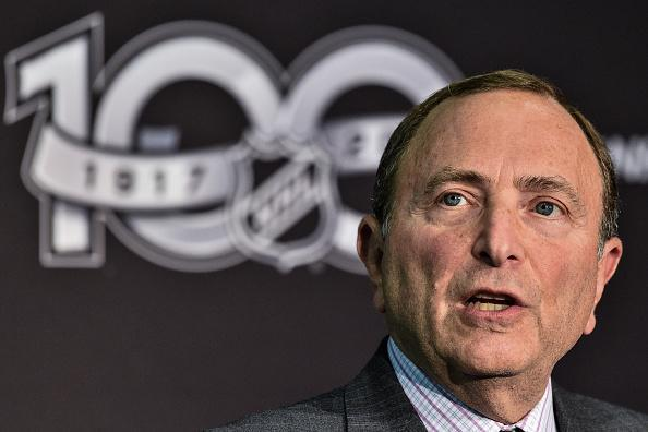 TORONTO, ON - SEPTEMBER 27: NHL Commissioner Gary Bettman unveils the League's Centennial celebration plans for 2017 during a press conference at the World Cup of Hockey 2016 at Air Canada Centre on September 27, 2016 in Toronto, Ontario, Canada. (Photo by Minas Panagiotakis/Getty Images)