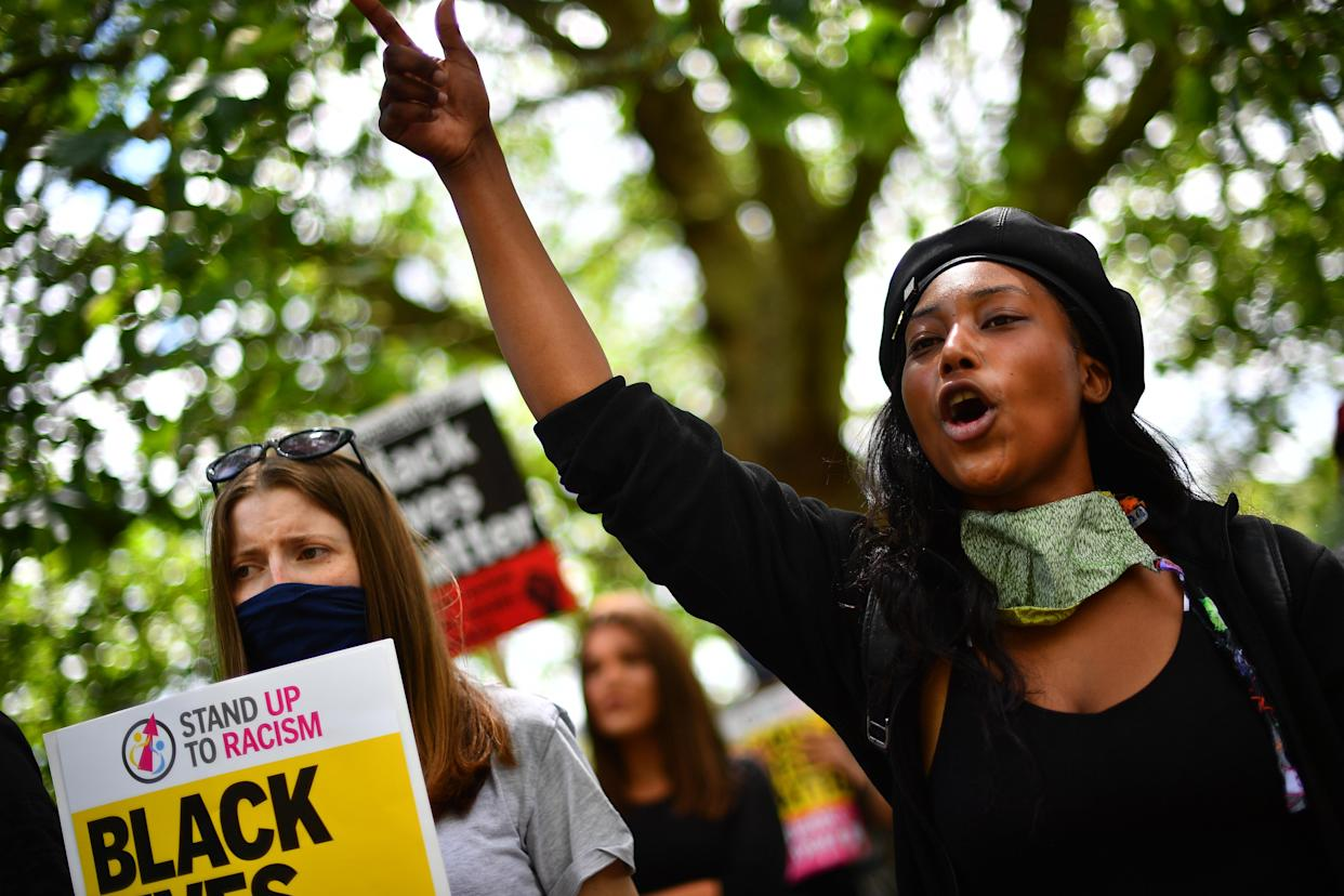 File photo dated 13/06/20 of activist Sasha Johnson (right) participating in a Black Lives Matter protest rally in Hyde Park, London. The mother-of-three is in a critical condition in hospital after she was shot in the head during the early hours of Sunday.