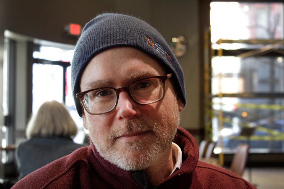 This February 2020, photo shows Steven DuBois in Portland, Ore. DuBois, an Associated Press reporter who spent two decades sharing Oregon's biggest news and quirkiest neuroticisms with readers worldwide, died Tuesday, Oct. 12, 2021, after a three-year battle with cancer. He was 53. (AP Photo/Gillian Flaccus)