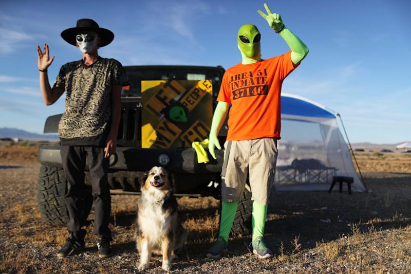 Revelers pose at the 'Storm Area 51' spinoff event 'Alienstock' in Rachel, Nevada: Getty Images