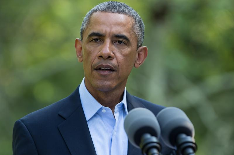 US President Barack Obama makes a statement on the situation in Iraq at Martha's Vineyard, Massachusetts, on August 11, 2014 (AFP Photo/Nicholas Kamm)