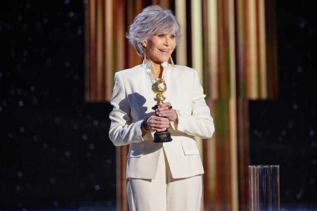 Jane Fonda accepts the Cecil B. DeMille Award onstage at the 78th Annual Golden Globe Awards on Feb. 28, 2021. (Photo: RICH POLK/NBCUNIVERSAL VIA GETTY IMAGES)