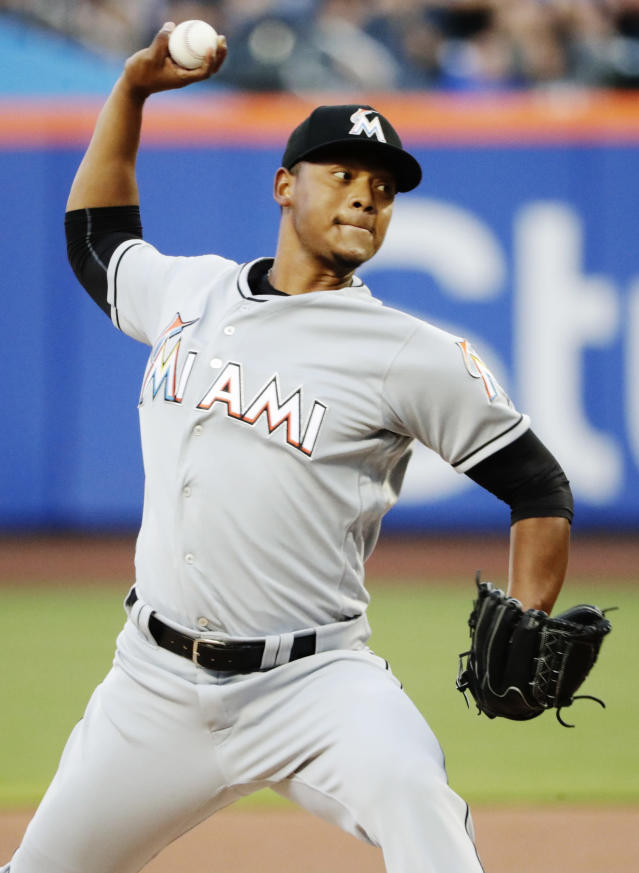 Miami Marlins' Elieser Hernandez delivers a pitch during the first inning of a baseball game against the New York Mets Monday, May 21, 2018, in New York. (AP Photo/Frank Franklin II)