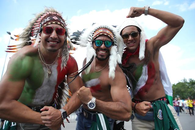 <p>Mexico fans enjoy the pre match atmosphere prior to the 2018 FIFA World Cup Russia group F match between Germany and Mexico at Luzhniki Stadium on June 17, 2018 in Moscow, Russia. (Photo by Alexander Hassenstein/Getty Images) </p>
