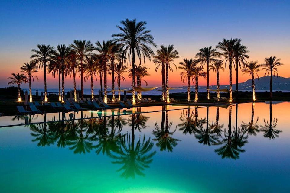 """<p><a href=""""https://www.roccofortehotels.com/hotels-and-resorts/verdura-resort/"""" rel=""""nofollow noopener"""" target=""""_blank"""" data-ylk=""""slk:Verdura"""" class=""""link rapid-noclick-resp"""">Verdura</a> has got it going on: private beach, spa, four restaurants and the most amazing pool to hang out in (particularly at sunset) on the island.</p>"""