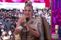 In this video image provided by NBC, Gabby Barrett accepts the top country female artist award during the Billboard Music Awards on Sunday, May 23, 2021. (NBC via AP)
