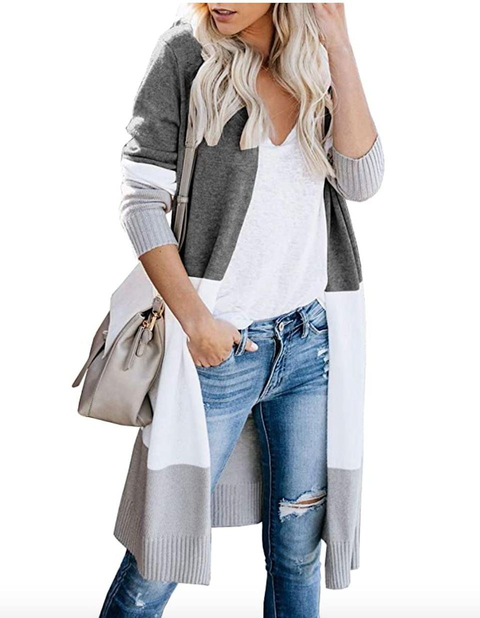 "<a href=""https://amzn.to/2RRKqrI"" target=""_blank"" rel=""noopener noreferrer"">This long colorblock cardigan</a> is available in sizes XS to XL in 14 colors. Find it for $32 on <a href=""https://amzn.to/2RRKqrI"" target=""_blank"" rel=""noopener noreferrer"">Amazon</a>."
