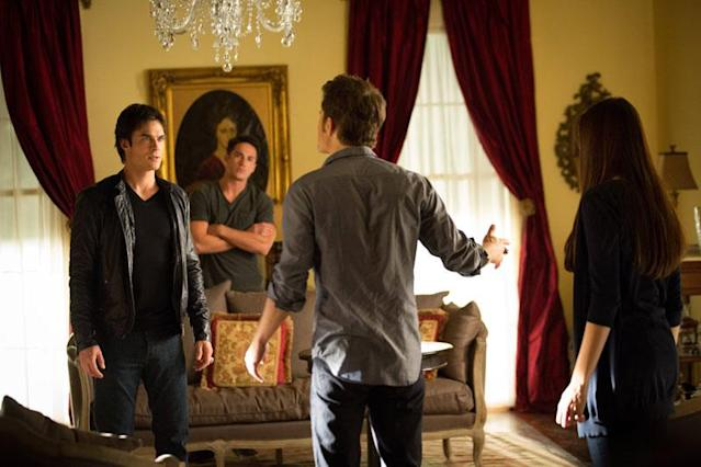 "Ian Somerhalder as Damon, Michael Trevino as Tyler, Paul Wesley as Stefan and Nina Dobrev as Elena in ""The Killer,"" the fifth episode of ""The Vampire Diaries"" Season 4."
