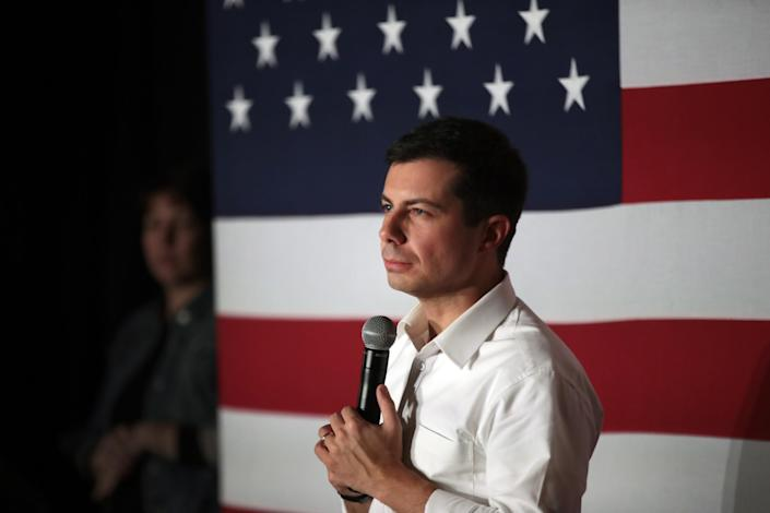 Democratic presidential candidate Pete Buttigieg at an Iowa campaign rally. (Photo: Scott Olson/Getty Images)