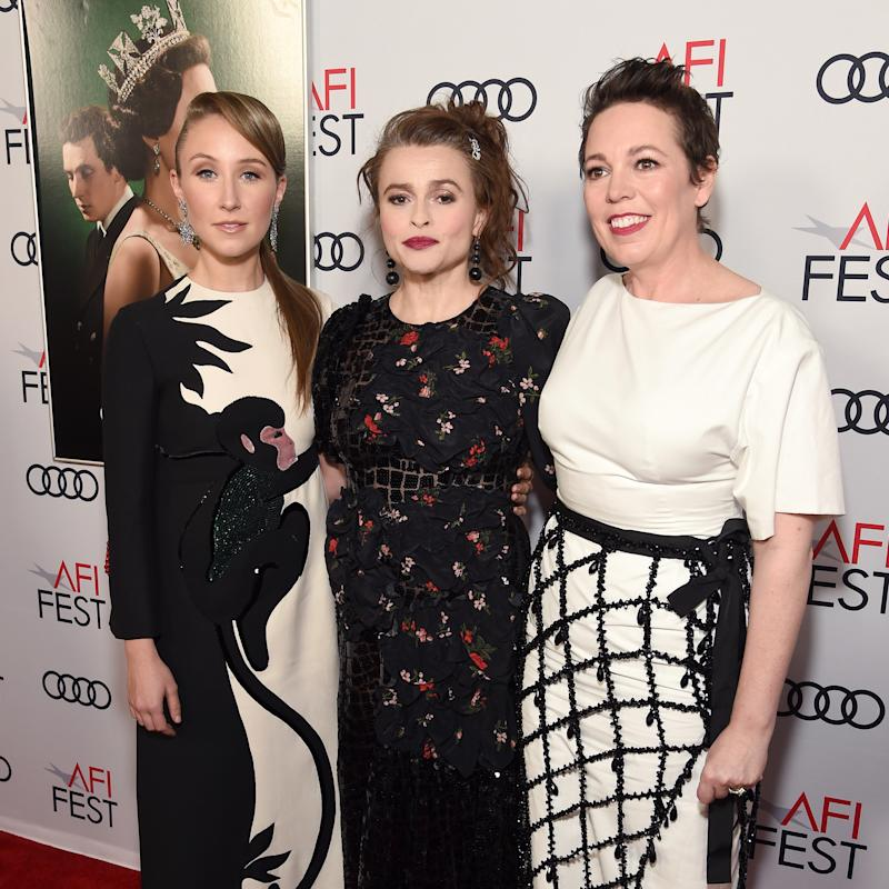 "HOLLYWOOD, CALIFORNIA - NOVEMBER 16: (L-R) Erin Doherty, Helena Bonham Carter, and Olivia Colman attend the Peter Morgan Tribute during ""The Crown"" Premiere at AFI FEST 2019 Presented By Audi at TCL Chinese Theatre on November 16, 2019 in Hollywood, California. (Photo by Michael Kovac/Getty Images for AFI)"