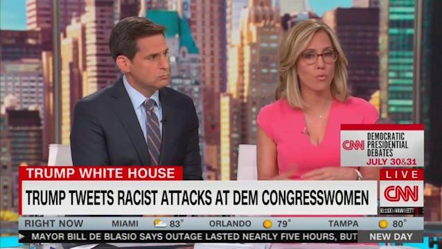 "Reacting to President Trump's openly racist and xenophobic call for Democratic congresswomen of color to ""go back"" to the countries ""they came"" from, the crew of CNN morning show New Day called out their Fox News counterparts Monday morning for laughing off Trump's tirade and describing it as ""very comedic.""Moments after Trump fired off a series of tweets taking aim at the group of freshmen progressive lawmakers known as The Squad, the hosts of Fox & Friends covered the president's comments on air. And while co-host Griff Jenkins read off the president's racist tweetstorm, the crew giggled and laughed before host Jedediah Bila added: ""Someone is feeling very comedic today.""Leading off Monday morning's program by hitting the president's comments and the relative lack of silence from Republican lawmakers, co-anchor Alisyn Camerota—a one-time Fox & Friends host herself—brought up the moment, noting that for ""many Republicans, Fox TV and Fox & Friends is their sole source of information.""""Okay? It just is,"" she continued. ""That's where they like to hear their own views reflected back at them. And so I think the folks on Fox & Friends were responding to this racist tweet in real-time. I think they were reading it when it came out. And their reaction sets the tone for how then Republicans, not just lawmakers but just regular people, try to process it.""After playing the clip of Bila brushing off the president's racism as nothing more than a joke, Camerota deadpanned: ""All fun and games.""Writer and producer Maysod Zayid, meanwhile, pointed out that she is actually a comedian and that ""racism is not funny—it's violent.""""It made me think, will they laugh if we get rounded up?"" Zayid declared. ""How far away from that are we? As someone who is Muslim, as someone who like Rashida [Tlaib] comes from Palestinian heritage. As someone who, like Jedediah, who was on that TV is brown and is constantly being yelled at to go back to their own country. Will they be chuckling? Will they think it's funny?""Co-anchor John Berman, meanwhile, highlighted that Fox News host Tucker Carlson has been pushing racist and xenophobic tropes on his program and Trump himself ""ran on American carnage.""As for Bila, this isn't the first time she's excused the president's bigotry as good-natured humor. Back in February, following Trump making a ""Trail of Tears"" genocide joke directed at Sen. Elizabeth Warren (D-MA), Bila placed the blame solely on Warren while wondering aloud if the president's ""kind of sarcasm"" helps him with voters.Read more at The Daily Beast.Got a tip? Send it to The Daily Beast hereGet our top stories in your inbox every day. Sign up now!Daily Beast Membership: Beast Inside goes deeper on the stories that matter to you. Learn more."