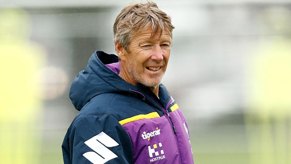 Pictured here, coach Craig Bellamy oversees a Melbourne Storm training session.