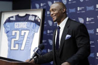 FILE - In this June 12, 2019, file photo, former Tennessee Titans running back Eddie George speaks during the announcement that his number will be retired, at the Titans' NFL football training facility in Nashville, Tenn. The Titans retiring Eddie George's No. 27 and the No. 9 of the late Steve McNair has turned from a simple halftime ceremony into a celebration and team reunion. (AP Photo/Mark Humphrey, File)