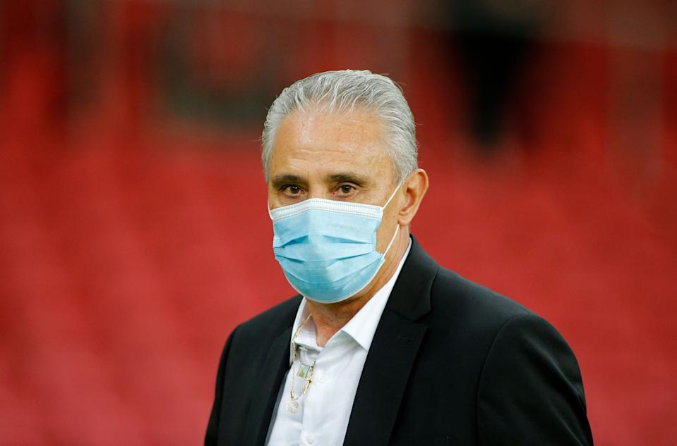 Brazil's coach Tite is pictured before the South American qualification football match for the FIFA World Cup Qatar 2022 against Ecuador at the Jose Pinheiro Borda stadium, better known as Beira-Rio, in Porto Alegre, Brazil, on June 4, 2021. (Photo by SILVIO AVILA / AFP) (Photo by SILVIO AVILA/AFP via Getty Images)