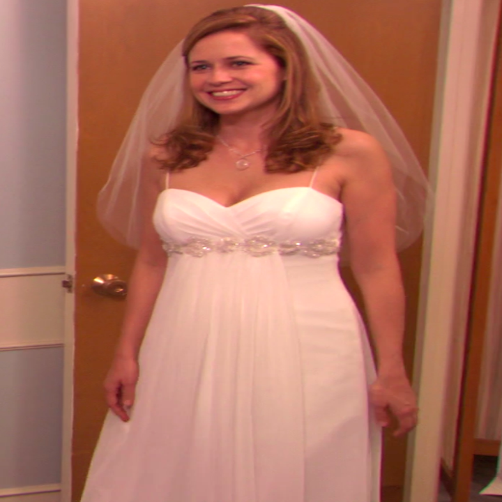 Pam wearing a dress with spaghetti straps