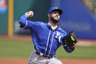 Kansas City Royals starting pitcher Jakob Junis delivers in the first inning of a baseball game against the Cleveland Indians, Wednesday, April 7, 2021, in Cleveland. (AP Photo/Tony Dejak)