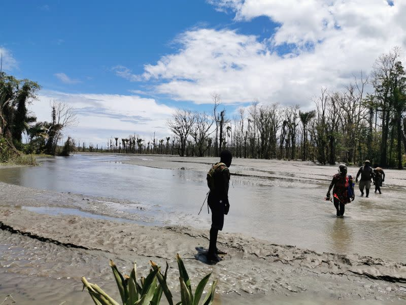 FILE PHOTO: Area destroyed by flooding downstream of Panguna mine in Konawiru, Bougainville