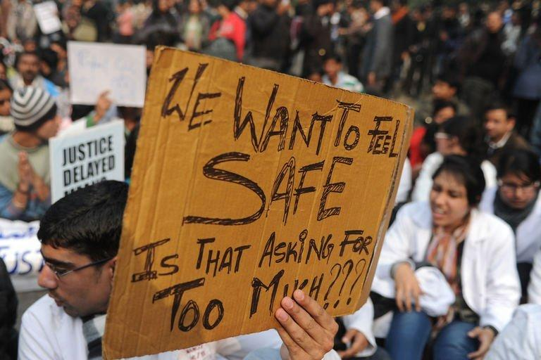 An Indian demonstrator in New Delhi on December 24, 2012 at a protest calling for better safety for women