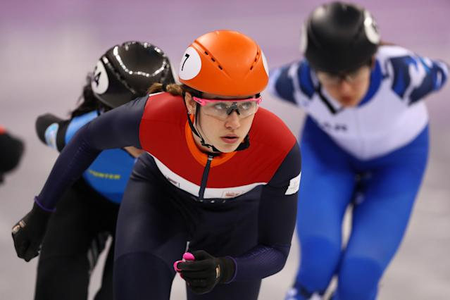 <p>Suzanne Schulting of the Netherlands competes during theLadies Short Track Speed Skating 1000m Heats on day eleven of the PyeongChang 2018 Winter Olympic Games at Gangneung Ice Arena on February 20, 2018 in Gangneung, South Korea. (Photo by Dean Mouhtaropoulos/Getty Images) </p>
