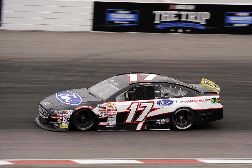 MADISON, IL - AUGUST 29: Taylor Gray (17) DGR-Corsley Ford Fusion races through turn one during the ARCA Menards Series Dutch Boy 150 on August 29, 2020, at World Wide Technology Raceway at Gateway in Madison, Illinois. (Photo by Michael Allio/Icon Sportswire via Getty Images)