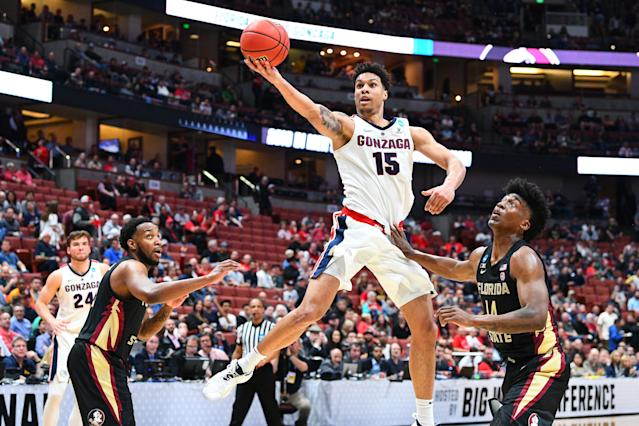 <p>Gonzaga forward Brandon Clarke (15) drives to the basket during the NCAA Division I Men's Championship Sweet Sixteen round basketball game between the Florida State Seminoles and the Gonzaga Bulldogs on March 28, 2019 at Honda Center in Anaheim, CA. (Photo by Brian Rothmuller/Icon Sportswire via Getty Images) </p>