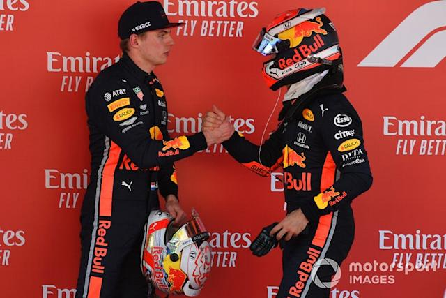 "Pierre Gasly, Red Bull Racing, Max Verstappen, Red Bull Racing <span class=""copyright"">Mark Sutton / Sutton Images</span>"