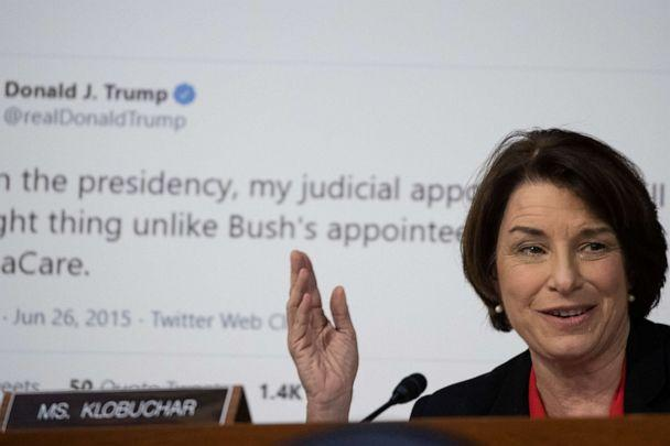 PHOTO: Sen. Amy Klobuchar speaks during the second day of the Supreme Court confirmation hearings for Judge Amy Coney Barrett before the Senate Judiciary Committee on Capitol Hill on Oct. 13, 2020 in Washington, DC. (Alex Edelman/Getty Images)