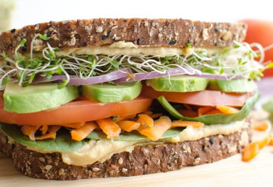 """<p>The key to making the veggie sandwich as satisfying as possible is using 1/4 cup of hummus per sandwich, and choosing a bread that's 100 percent whole wheat and hearty enough to hold all of your veggie fillings. Get the recipe <a rel=""""nofollow"""" href=""""https://www.blessthismessplease.com/?mbid=synd_yahoofood"""">here</a>.</p><p><b>Per one serving:</b> <em>510 calories, 17 g protein</em></p>"""