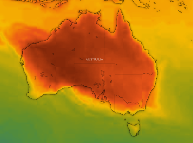 By Tuesday, NSW and Queensland will be gripped by intense heat once more. Source: Windy.com