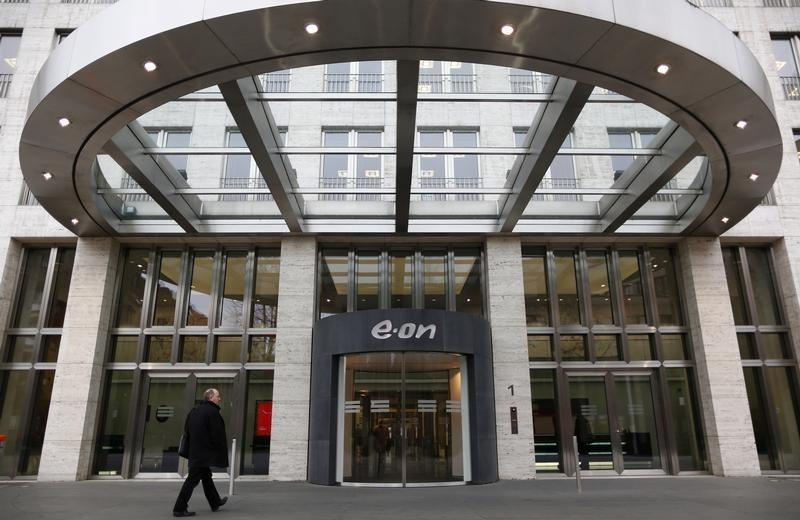 The headquarters of German utility giant E.ON are seen before a news conference in Duesseldorf