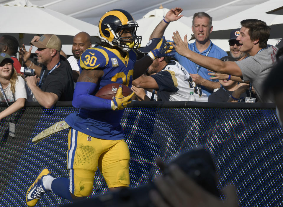 Todd Gurley is currently the NFL's leading rusher and a big reason for L.A.'s strong offense. (Getty Images)