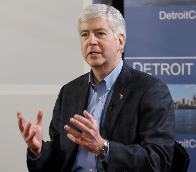 FILE - In this March 1, 2013 file photo Michigan Gov. Rick Snyder speaks in Detroit. As they gear up for re-election campaigns, many GOP governors, particularly those across the upper Midwest, find themselves in positions of strength, having benefited from improving economies if not changes of heart over their policies. Snyder inflamed the state's shrinking labor vote in December, when he reversed course and signed legislation, stripping unions of their ability to force employees to pay dues. Since then his job approval has risen, a reflection of improving jobs numbers: in April unemployment was 8.4 percent, down from 11 percent in 2011. (AP Photo/Paul Sancya, File)